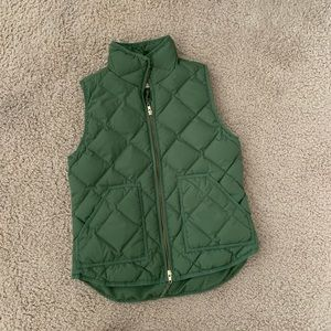 J. Crew Olive Green Quilted Down Vest